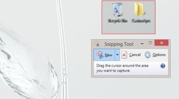 Hiirellä rajataan kuvaruudulta haluttu alue kuvakaappaukseksi. Leikkaustyökalu Windows 8.