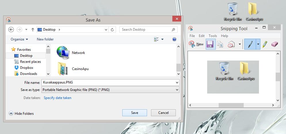 Save the screenshot to desktop.